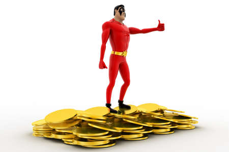 showoff: 3d superhero golden coins conceptconcept on white background, side angle view