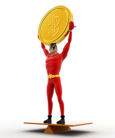 balancing: 3d superhero balancing on seasaw and holding coin up concept on white background, side angle view