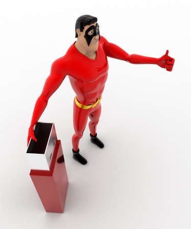 pendrive: 3d superhero with usb pendrive concept on white background,  top angle view