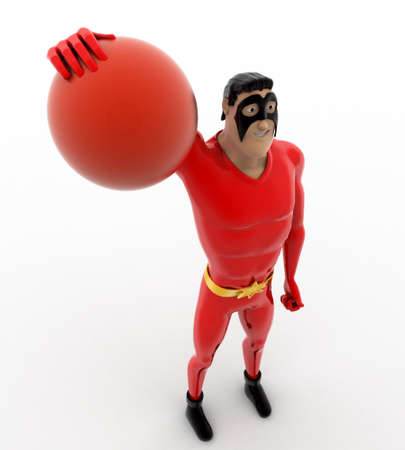 hitting: 3d superhero hitting voleyball ball concept on white background, top angle view