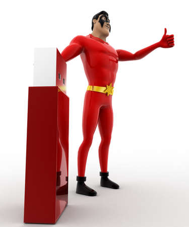 pendrive: 3d superhero with usb pendrive concept on white background,  side angle view Stock Photo