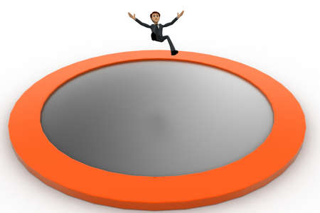 man falling: 3d man falling into big water hole concept on white background, front angle view