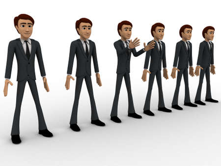 standing in line: 3d group of men standing in line to represent team concept on white background, left side angle view