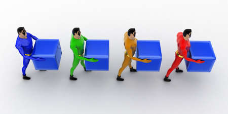 superheros: 3d superheros in queue and holding square cubes concept on white background, top angle view