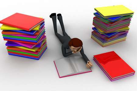 high angle view: 3d man reading book and doing preparation for exams concept on white background, high angle view