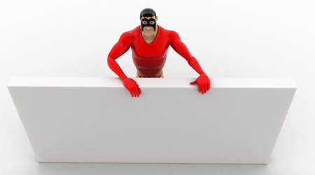 hide: 3d superhero hide behind white wall concept on white background, top angle view