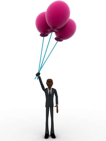pink balloons: 3d man holding big pink balloons concept on white background, front angle view