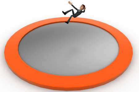man falling: 3d man falling into big water hole concept on white background, side angle view