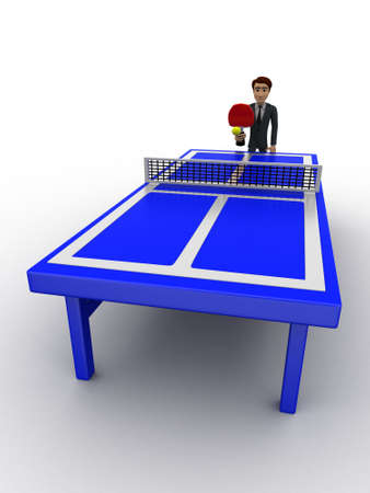 high angle view: 3d man playing table tennis on blue table concept on white background, high angle view