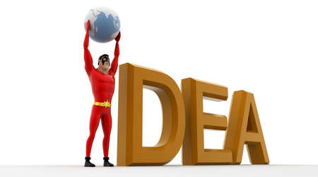 hand stand: 3d superhero holding earth sphere in hand and stand beside idea concept on white background, side angle view Stock Photo