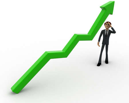 worried executive: 3d man worried with green arrow graph growth concept on white background, front    angle view