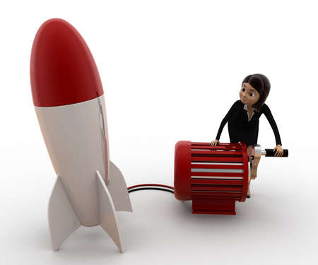 to try: 3d woman try to run rocket using generator concept on white background, side angle view Stock Photo