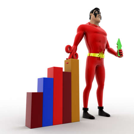 angle bar: 3d superhero holding up arrow and with percentage bar graph concept on white background, front angle view