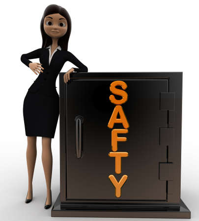 safty: 3d woman with safty locker concept on white background, front angle view