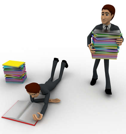 another: 3d one man reading book and one man taking books to another room concept on white background, front angle view
