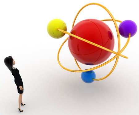 molecular model: 3d woman looking at molecular model concept on white background, side angle view Stock Photo