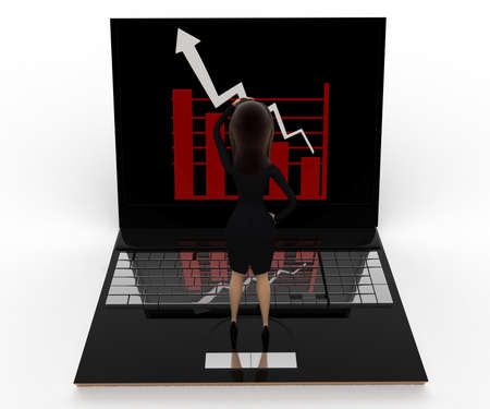 viewing angle: 3d woman watching graph on laptop concept on white background, front angle view Stock Photo