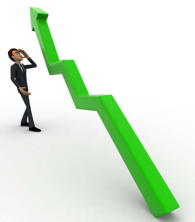 worried executive: 3d man worried with green arrow graph growth concept on white background,  side angle view Stock Photo