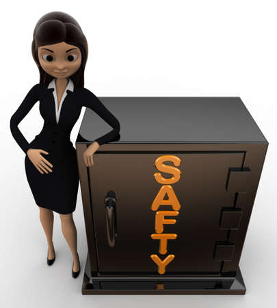 safty: 3d woman with safty locker concept on white background,  yop angle view
