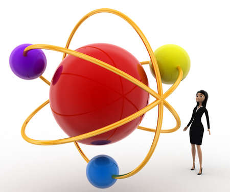 molecular model: 3d woman looking at molecular model concept on white background, front angle view