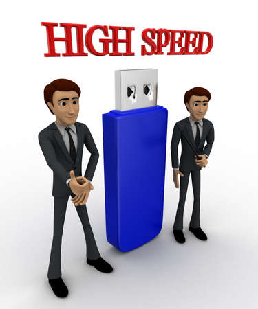 high angle view: 3d man high speed usb concept on white background, side     angle view Stock Photo
