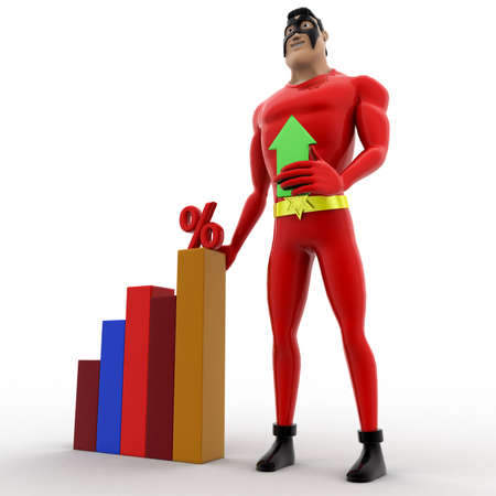 angle bar: 3d superhero holding up arrow and with percentage bar graph concept on white background, side angle view Stock Photo