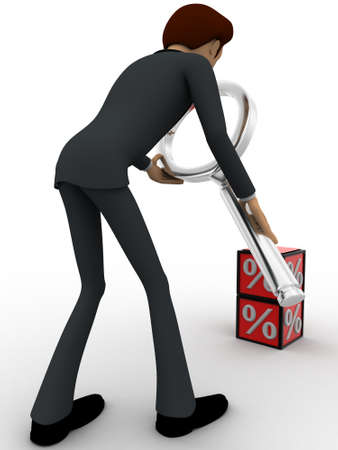 examine: 3d man examine red percentage cube magnifying glass concept on white background, back angle view Stock Photo