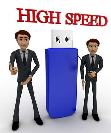 high speed: 3d man high speed usb concept on white background, front    angle view
