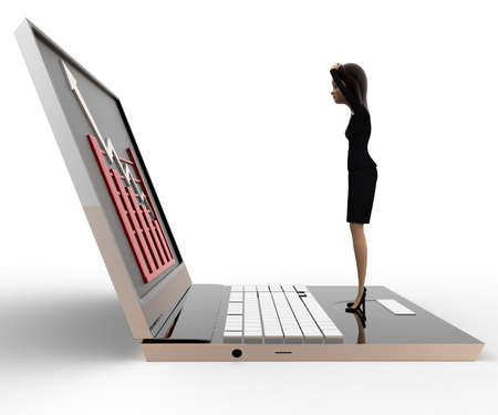 viewing angle: 3d woman watching graph on laptop concept on white background, side angle view