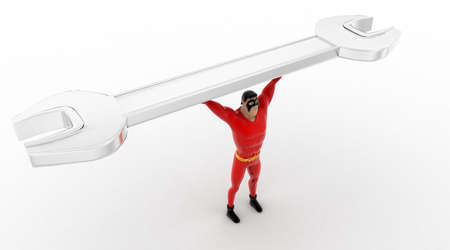 top angle view: 3d superhero carry golden wrench in hands concept on white background, top angle view