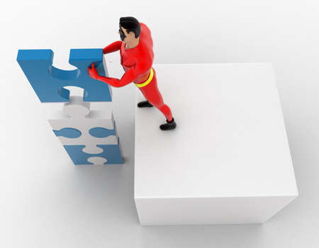 tall: 3d superhero making tall construction from puzzle pieces concept on white background, top angle view Stock Photo