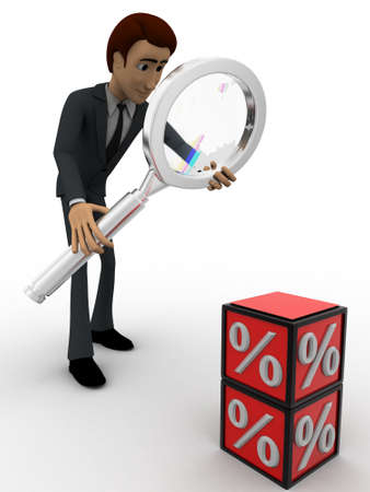 examine: 3d man examine red percentage cube magnifying glass concept on white background, front    angle view
