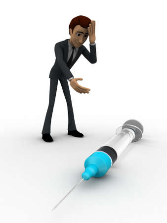 while: 3d man looking worried while looking at injection concept on white background, front    angle view