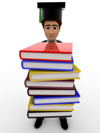 scholar: 3d man scholar graduate with many books concept on white background, front angle view