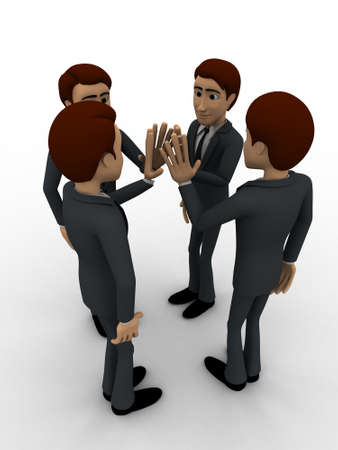 tossing: 3d men tossing hands concept on white background,  top angle view Stock Photo