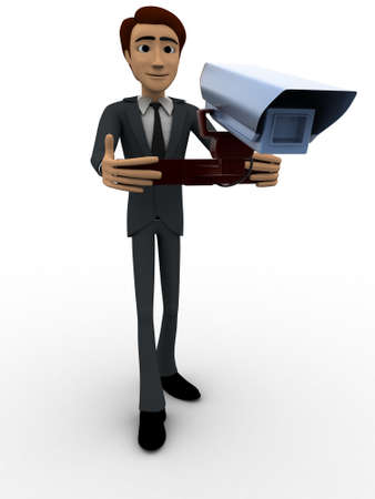 cctv security: 3d man holding cctv security camera in hands concept on white background, front angle view