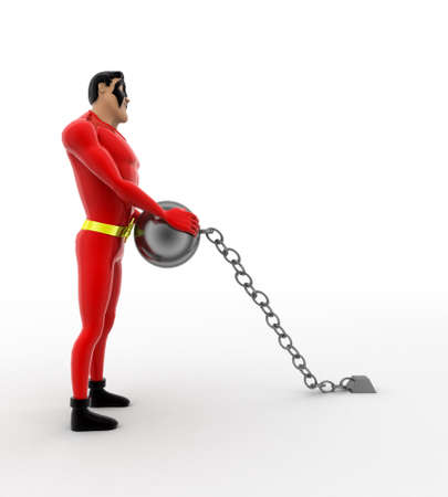 chain ball: 3d superhero pulling chain ball concept on white background,  side angle view