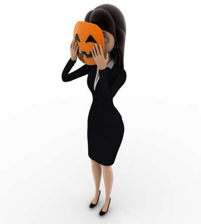 woman behind: 3d woman hiding face behind mask concept on white background,  top angle view
