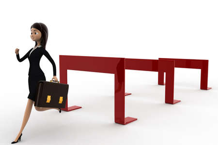 hurdles: 3d woman crossing hurdles concept on white background, side angle view Stock Photo