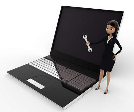 computer repair: 3d woman with wrench to repair laptop computer concept on white background, top side  angle view