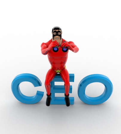 ceo: 3d superhero sitting on CEO text and searching using binocular concept on white background, top angle view Stock Photo
