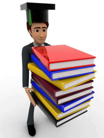 scholar: 3d man scholar graduate with many books concept on white background, side angle view