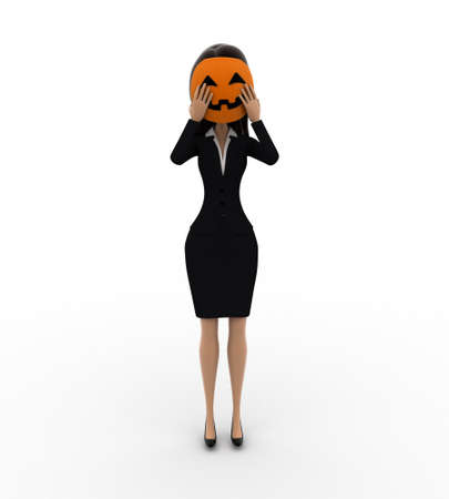 woman behind: 3d woman hiding face behind mask concept on white background, front angle view