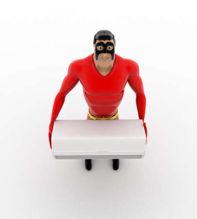 hands in the air: 3d superhero holding air conditioner in hands concept on white background, top angle view Stock Photo
