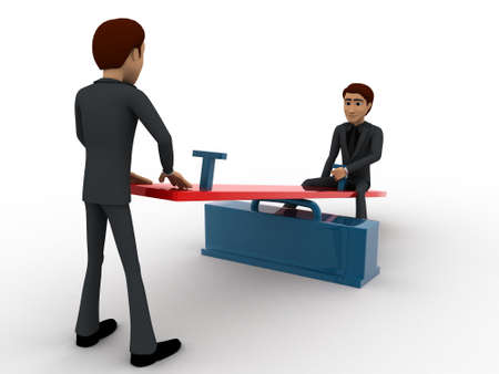 see saw: 3d men sitting on see saw concept on white background,  side angle view