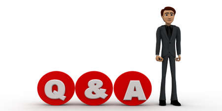 qa: 3d man standing with red  circular  blocks Q&A text concept on white background, side angle view Stock Photo