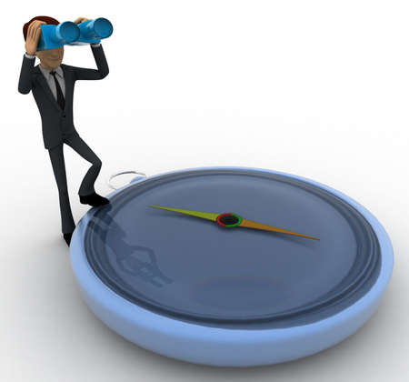 looking at view: 3d man with big compass and looking through binocular concept on white background, side angle view