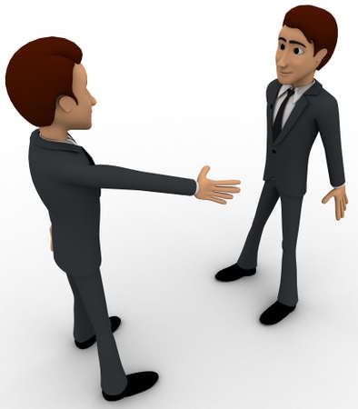 offering: 3d man offering hand for hand shake and another one is refusing it concept on white background, side angle view Stock Photo