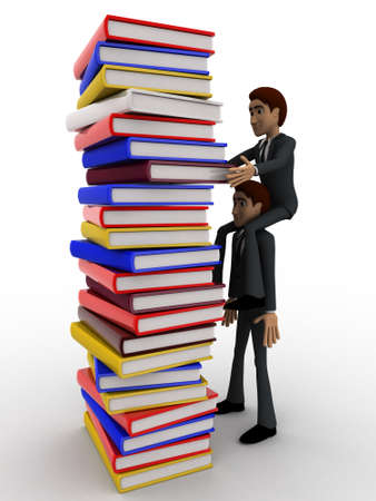take out: 3d man help another man to take out book from tall ple of books concept on white background,  side angle view