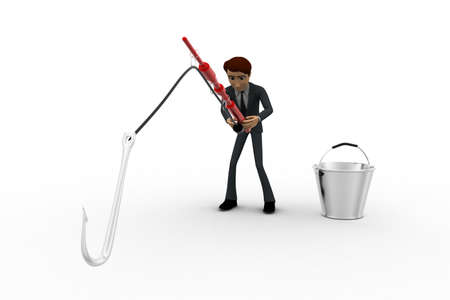 man fishing: 3d man fishing with fishing rod with big hook and bucket concept on white background, front angle view Stock Photo